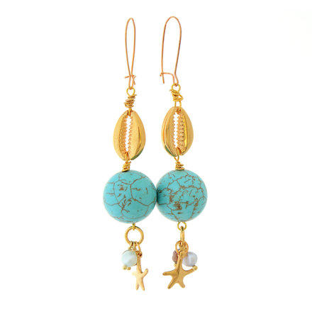 Earrings, Gold Plated, Shell Earrings