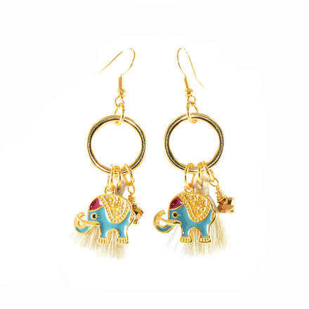 Earrings, Gold Plated, Blue Elephants